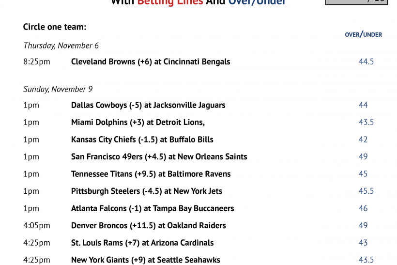 picture relating to Miami Dolphins Printable Schedule identify NFL Workplace Pool 2014: Printable 7 days 10 Program With
