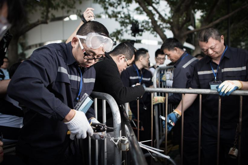Hong Kong police clear protest site