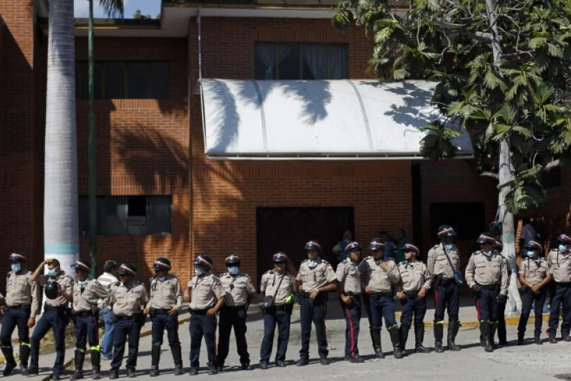 Venezuelan Officers Stand Guard