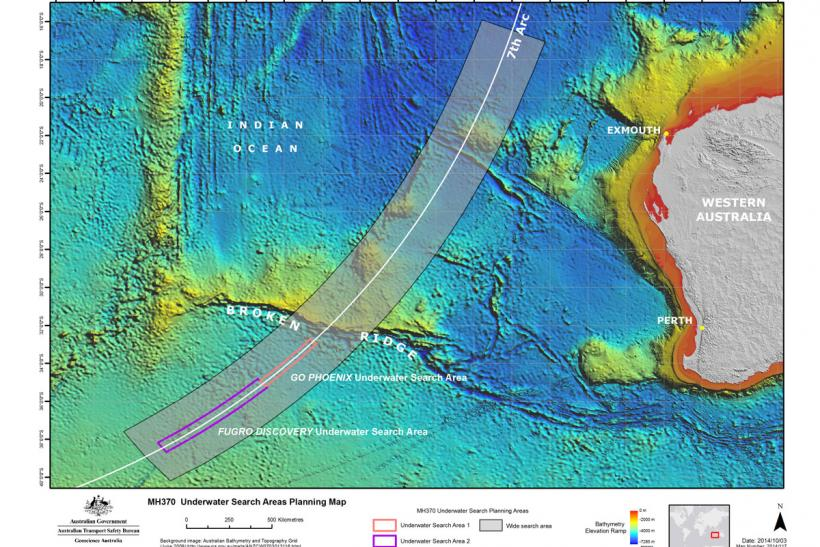 MH370 underwater search map