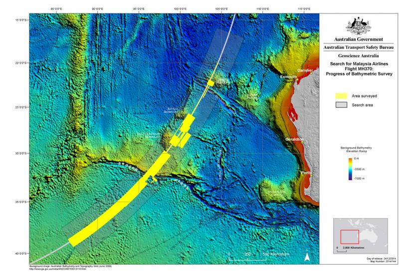 MH370 Bathymetric survey map