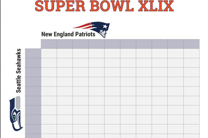 Super Bowl 2015 Squares: Printable Boxes Document For Office Pool