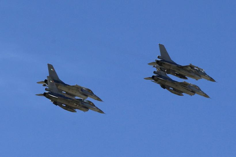 Aircraft from the Jordanian Air Force fly in formation