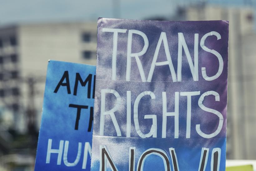 Trans rights protest sign