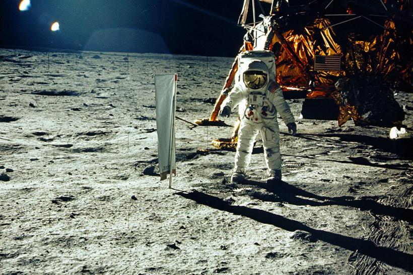 Buzz Aldrin on the moon