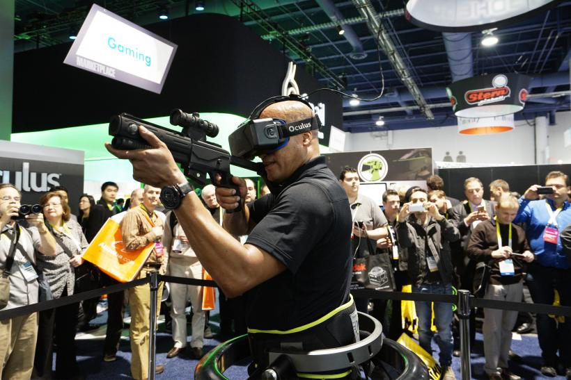 Virtual reality goggle on display