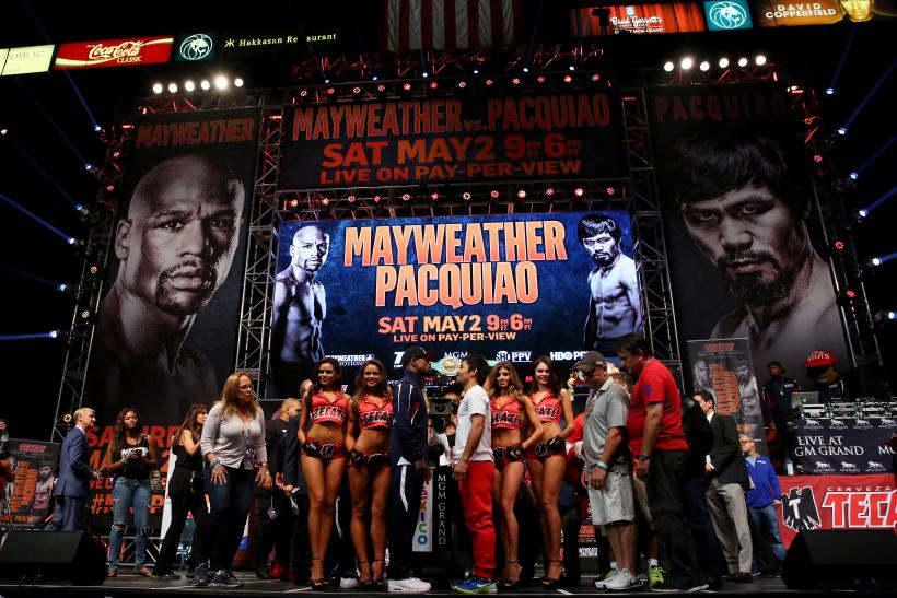 Mayweather Pacquiao faceoff wide