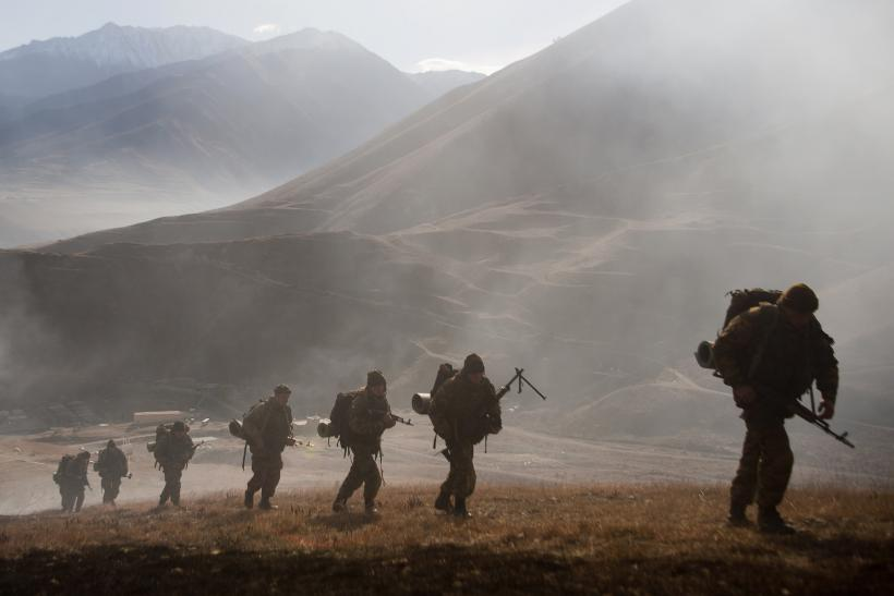 Russian soldiers on exercise