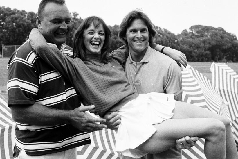 "[11:31] Olympian Bruce Jenner (R) poses with NFL player Dick Butkus and actress Pamela Sue Martin at the taping of the early reality show filming of TV show ""Star Games"" in Santa Barbara, California"