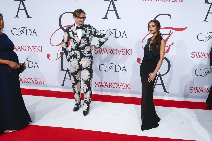 [8:34] Designer Victoria Beckham arrives with Hamish Bowles for the 2015 CFDA Fashion Awards in New York