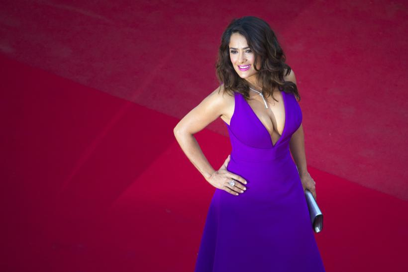 "[12:00] Actress Salma Hayek poses on the red carpet as she arrives for the screening of the film ""Carol"" in competition at the 68th Cannes Film Festival"