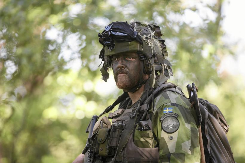 A Swedish soldier supporting a NATO exercise in Poland