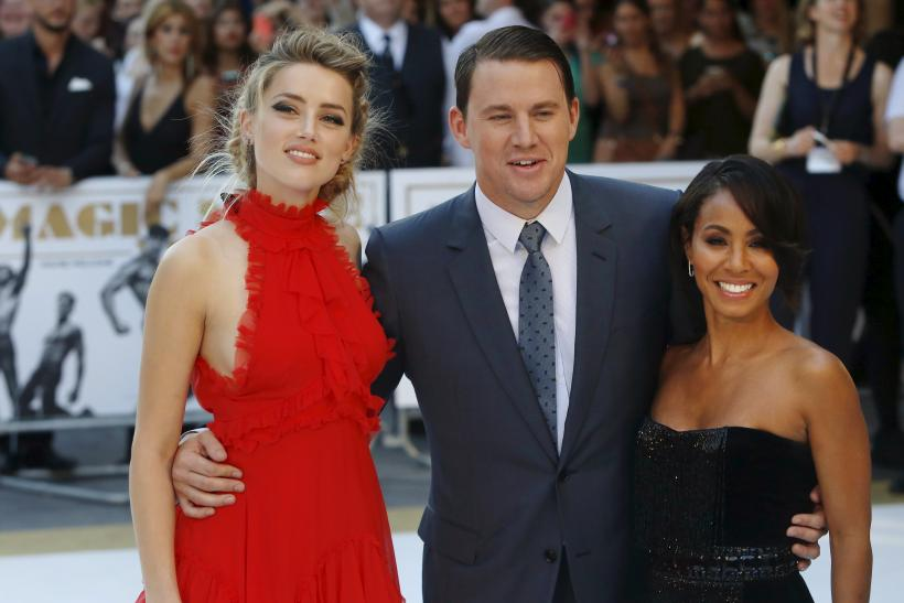 """[12:16] Actors Jada Pinkett Smith (R), Amber Heard (L) and Channing Tatum pose at the European premiere of """"Magic Mike XXL"""" at Leicester Square in London"""