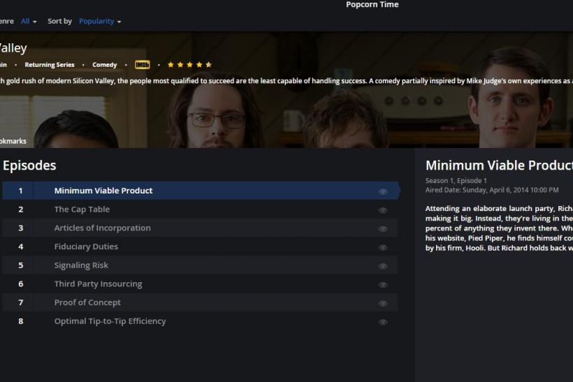 Popcorn Time, Silicon Valley screenshot