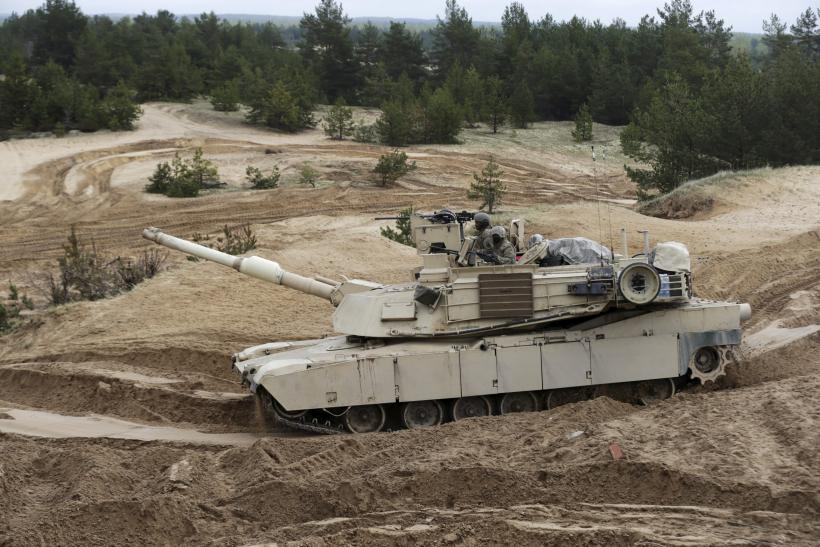 An Abrams Tank pivots during military exercises