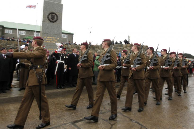 Soldiers march in the Falklands.