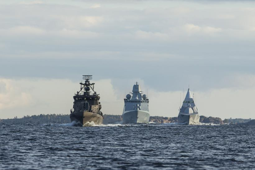 Finnish naval ships cruising off the coast of Finland