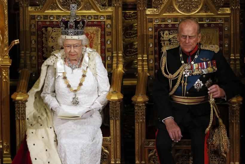 Britain's Queen Elizabeth sits with Prince Philip