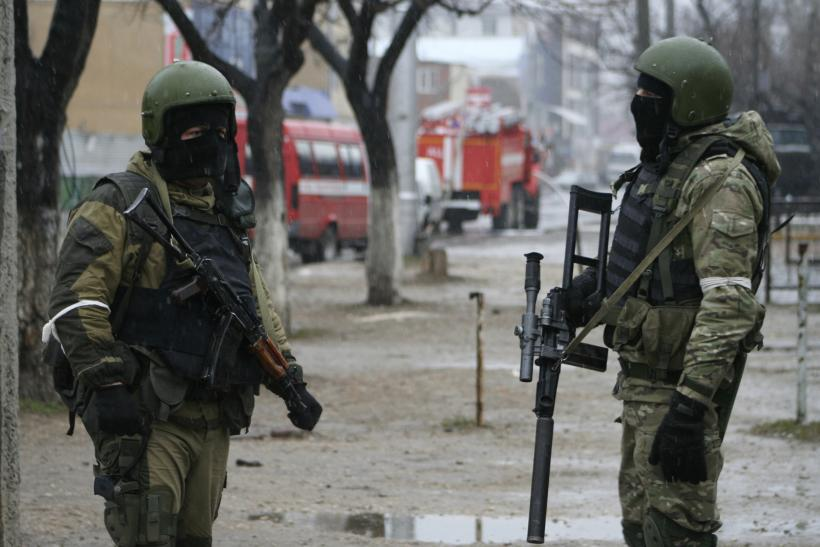 Russian soldiers stand guard in Dagestan