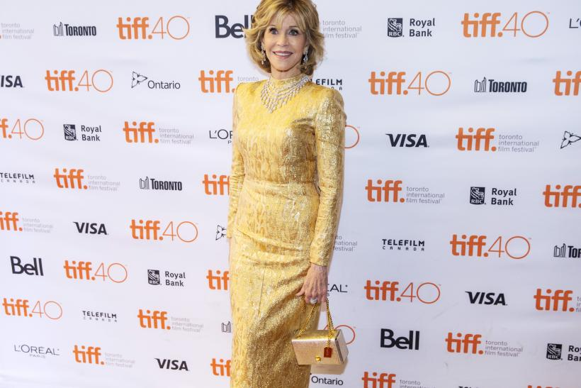 "[08:09] Jane Fonda arrives on the red carpet for the film ""Youth"" during the 40th Toronto International Film Festival"