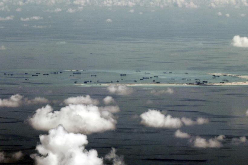 Aerial picture of Chinese ships building artificial islands in the South China Sea