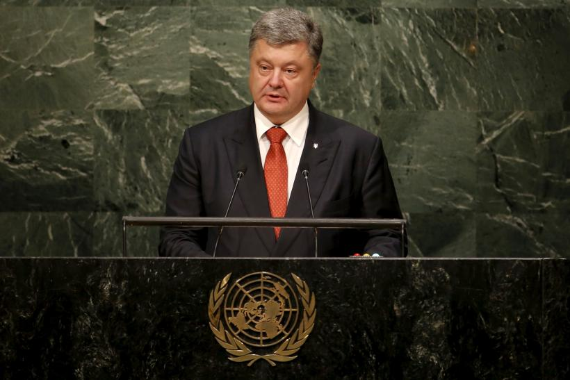 Ukrainian President Petro Poroshenko giving a speech at the United Nations