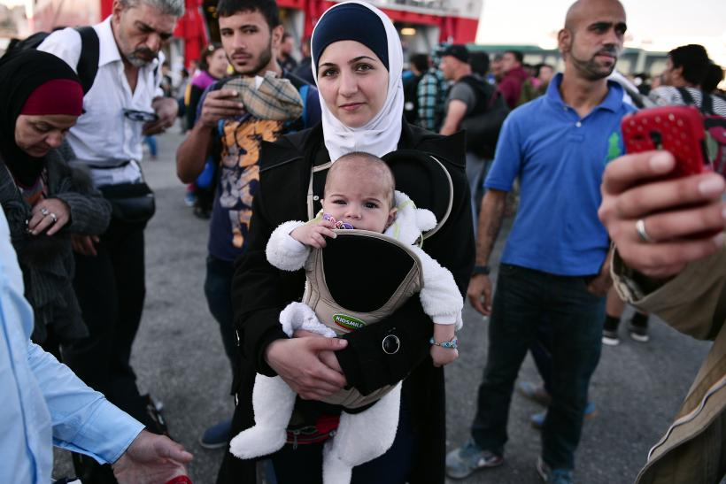 Syrian Refugee Family in Greece, Sept. 16, 2015