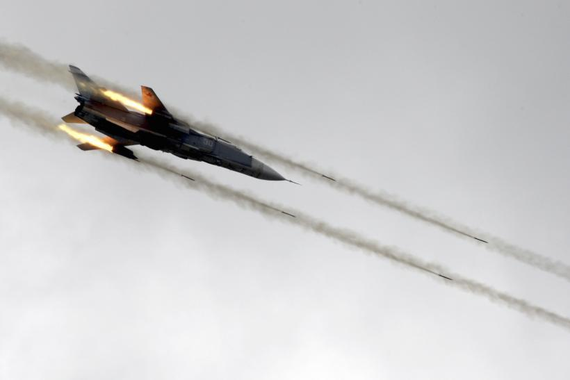 A Russian Sukhoi su-24 jet during a drill in China