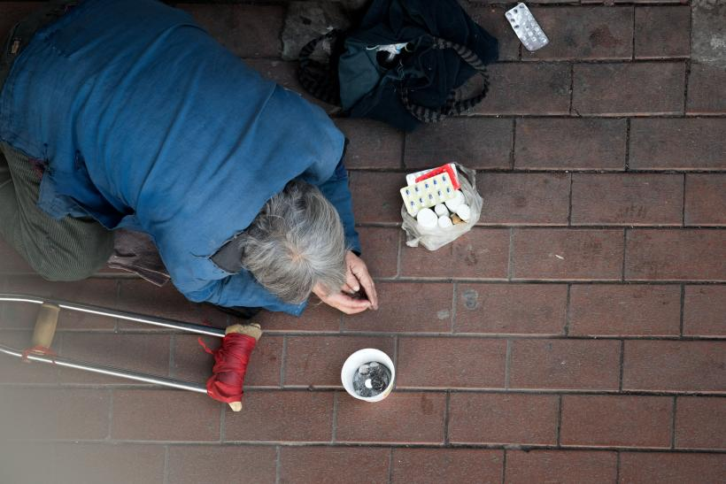 Man Begs in Shanghai, Feb. 4, 2015