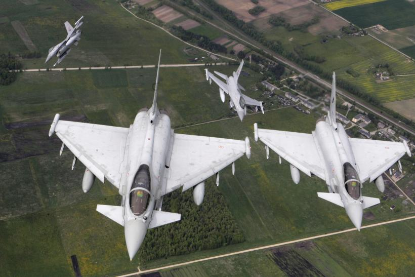 Euro fighter Typhoon in formation over the Baltics.