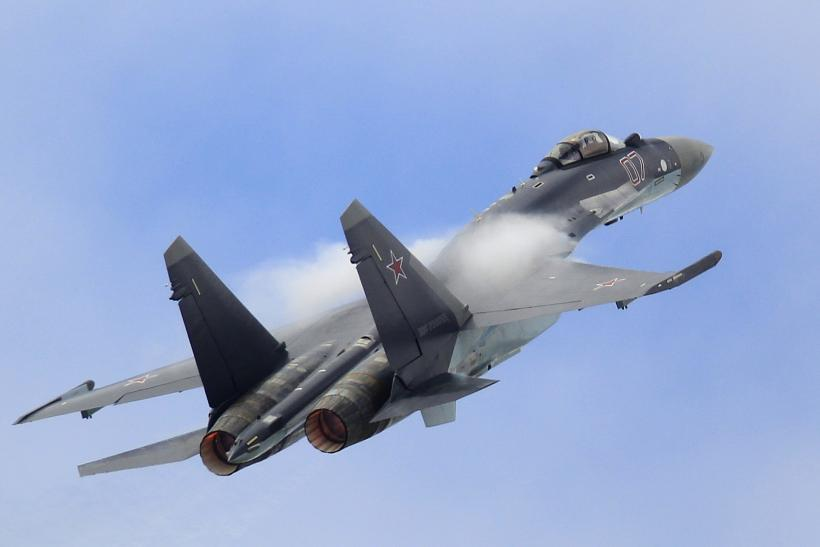 An Su-35 jet flying during the Paris Air Show