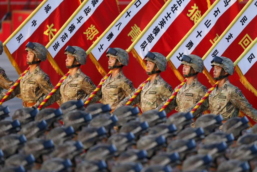 Soldiers in the PLA of China take part in a military parade.