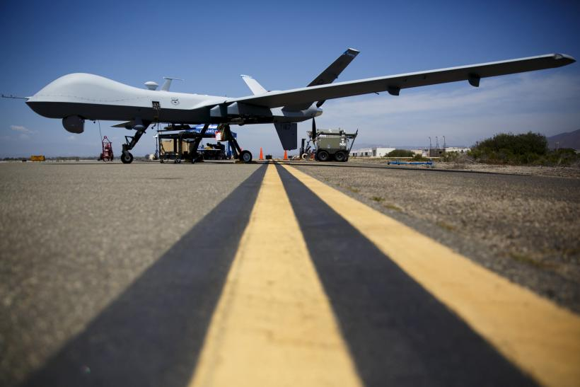 A reaper idle drone on the tarmac at a naval base in California