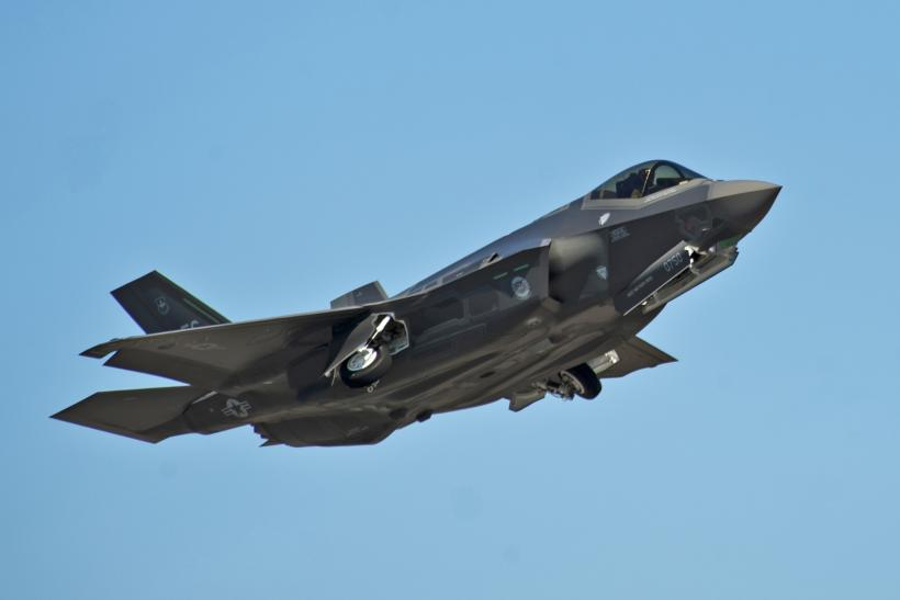 An F-35 conducting a training drill