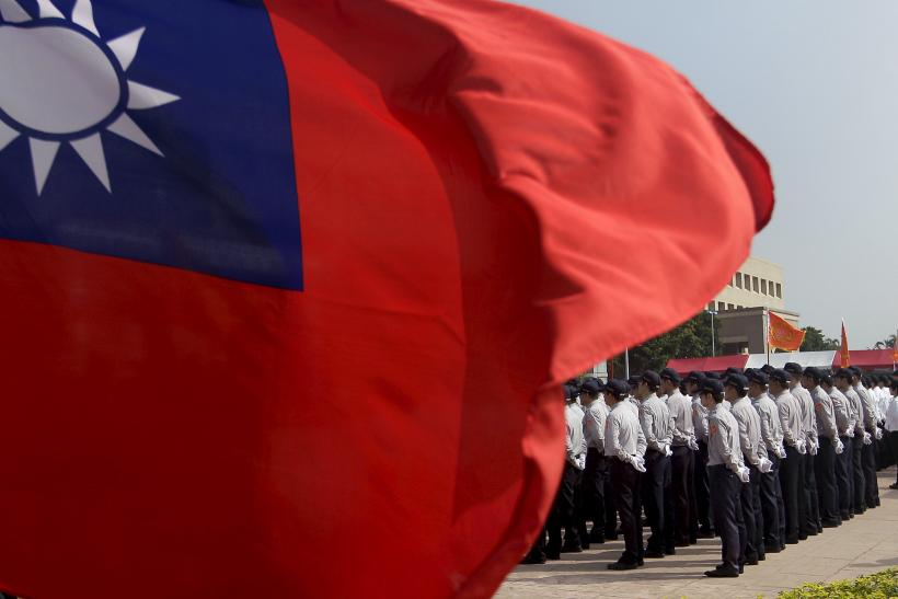 The national flag of Taiwan during a drill of the country's security troops