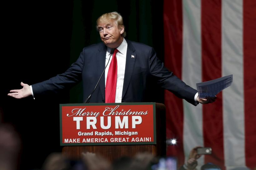 Donald Trump on stage in Michigan