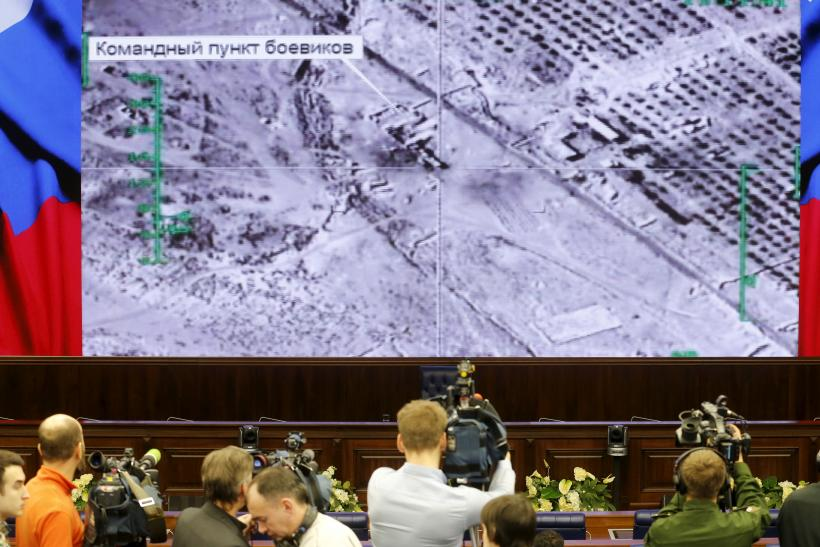 Russian journalists at a military briefing in Moscow.