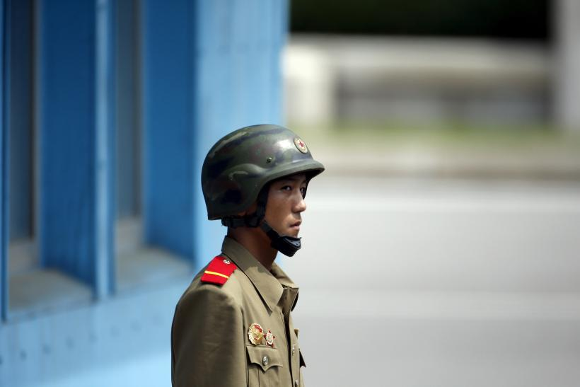 A North Korean soldier at the Demilitarized Zone between South Korea and North Korea