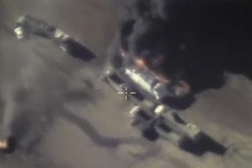A screen grab of footage from a Russia airstrike on a ISIS target.