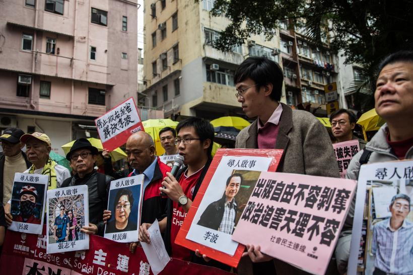 missing HK booksellers protest