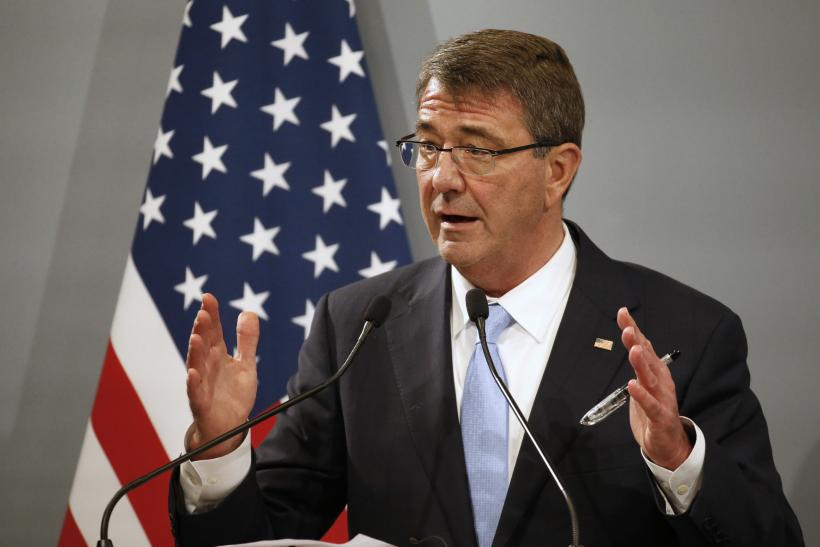 Pentagon chief Ash Carter gestures during a speech in Paris, France.