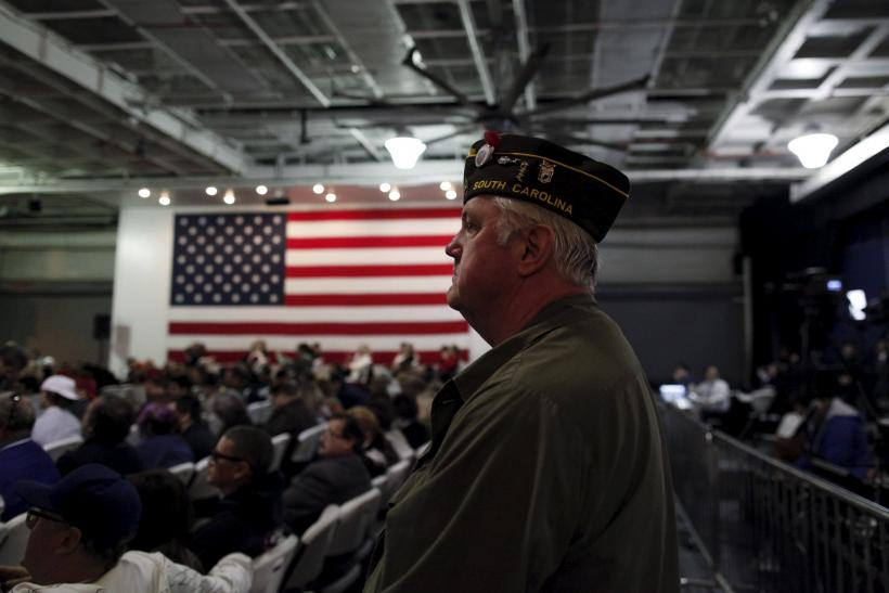 A veteran waits for Donald Trump to speak at a rally in South Carolina.