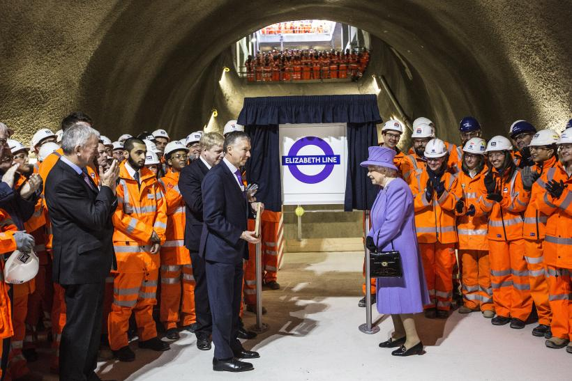 Britain's Queen Elizabeth attends the formal unveiling of the new logo for Crossrail