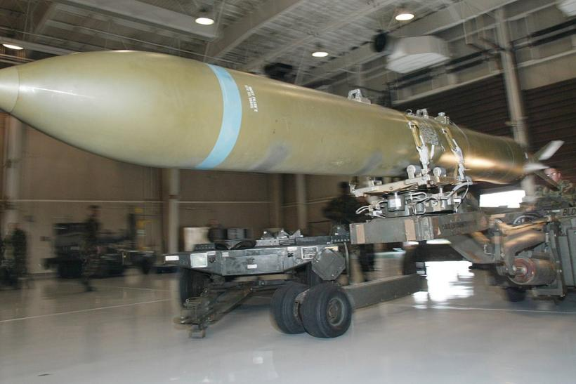A U.S.-built bunker buster bomb being loaded.