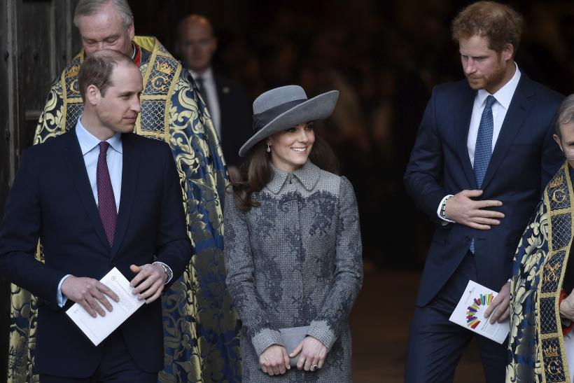 Britain's Prince William his wife, Catherine, Duchess of Cambridge and Prince Harry