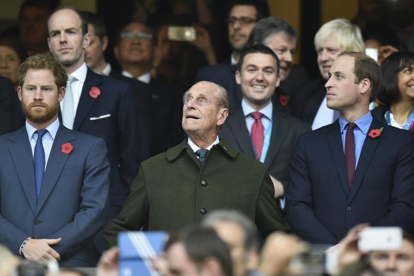 Britain's Prince Harry, Prince Philip and Prince William