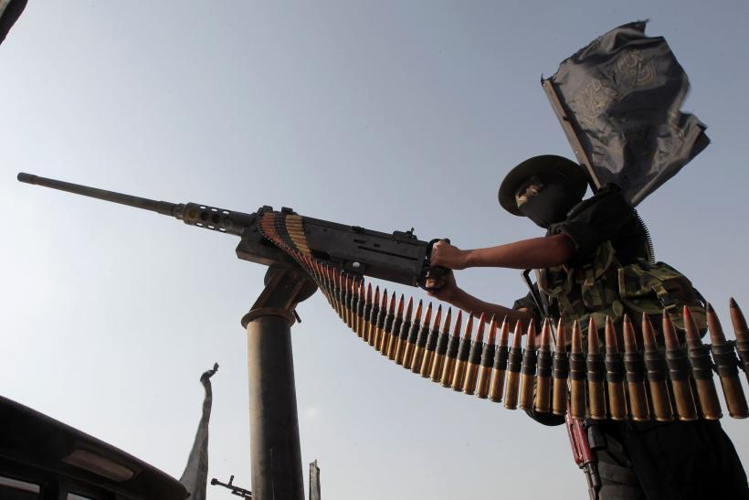 Palestinian Islamic Jihad militant machine gun Gaza Strip