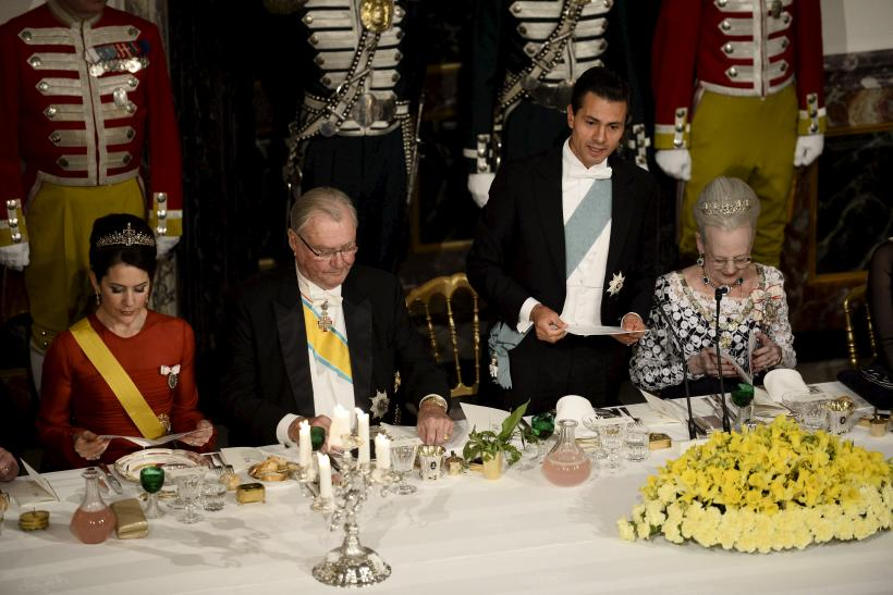Danish Crown Princess Mary, Prince Consort Henrik, Mexico's President Enrique Pena Nieto and Danish Queen Margrethe