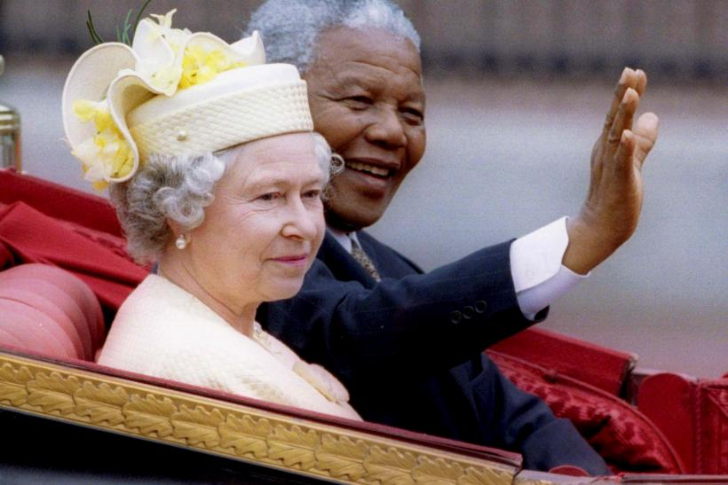 File photo of Nelson Mandela and Queen Elizabeth II