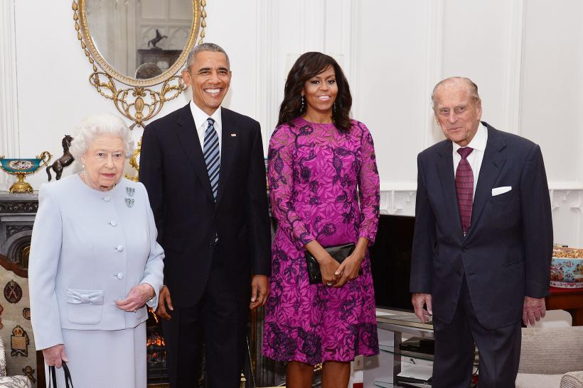 The Obamas with Queen Elizabeth and the Duke of Edinburgh